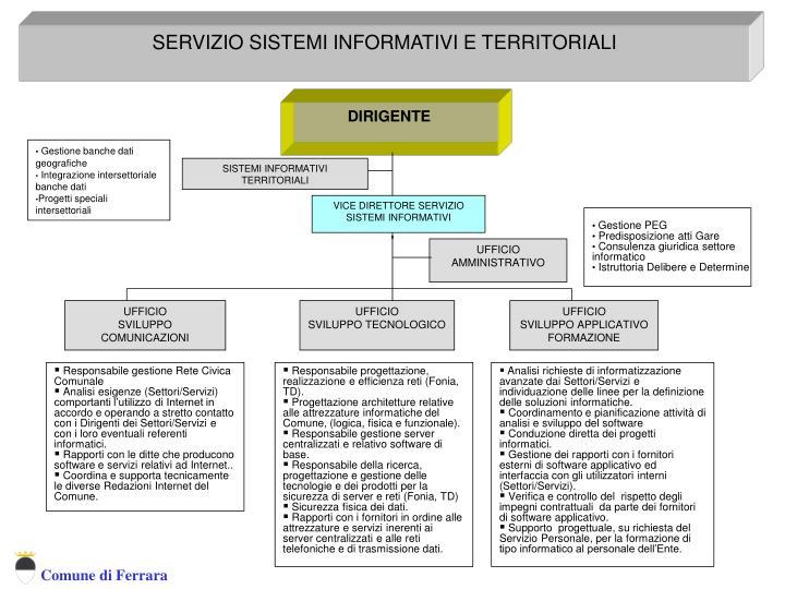SERVIZIO SISTEMI INFORMATIVI E TERRITORIALI