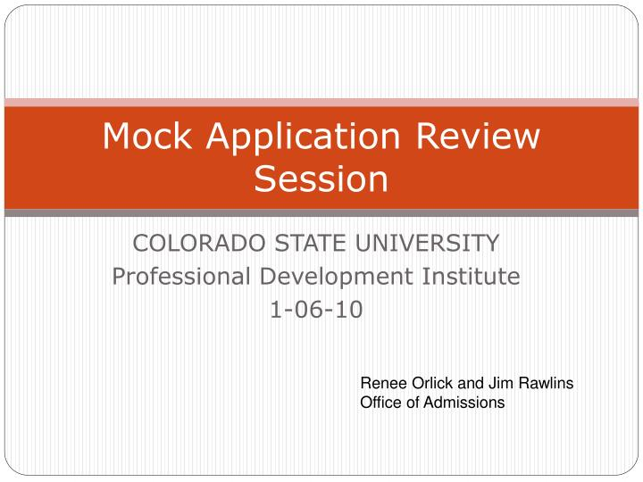 Mock application review session