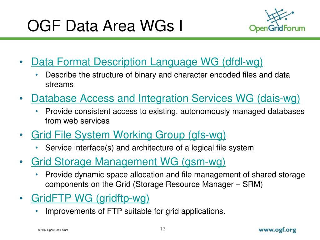 OGF Data Area WGs I