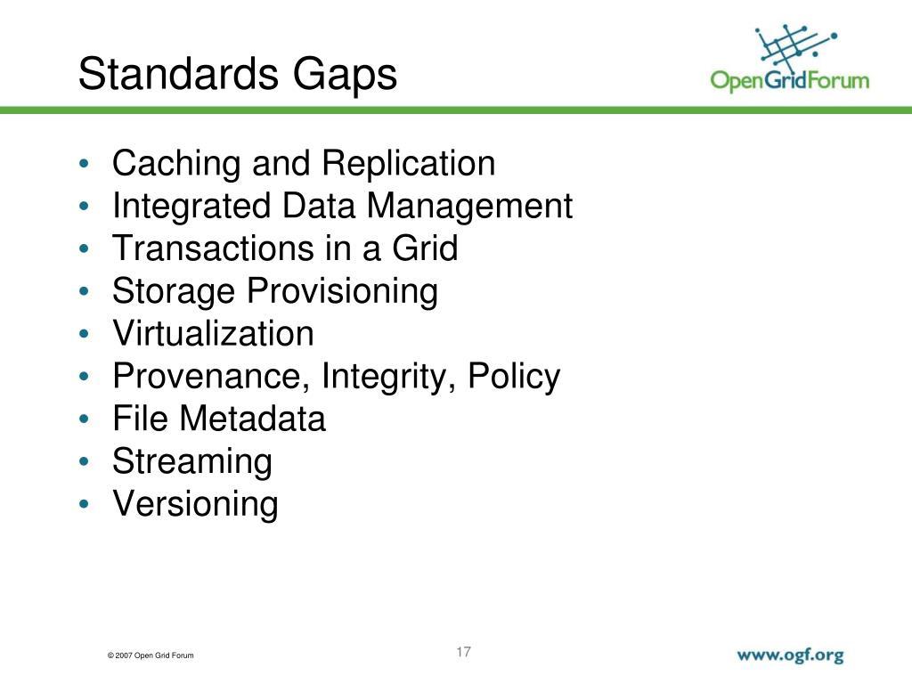 Standards Gaps