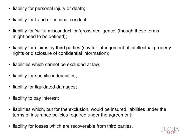 liability for personal injury or death;