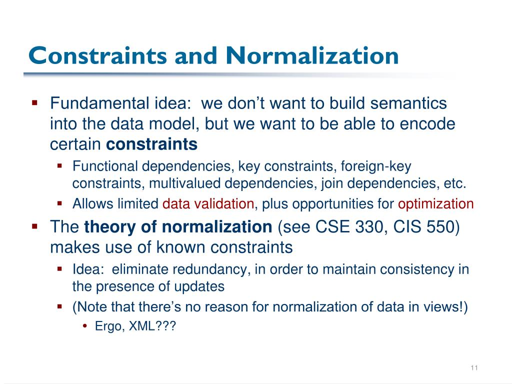 Constraints and Normalization