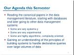 our agenda this semester