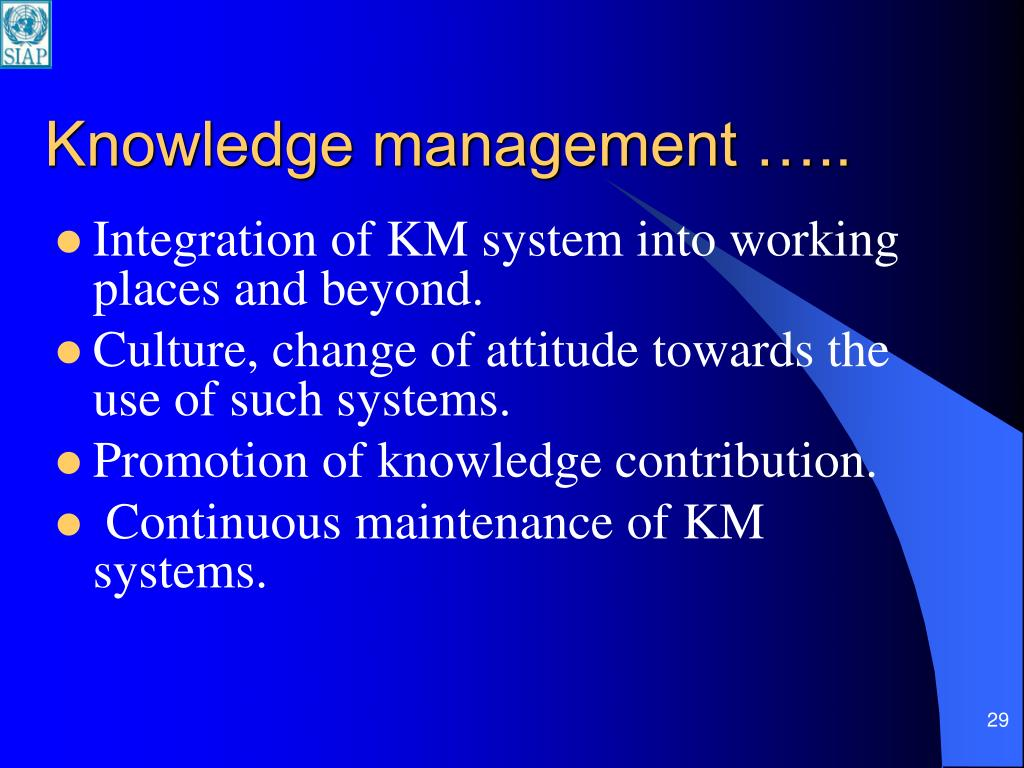 Knowledge management …..