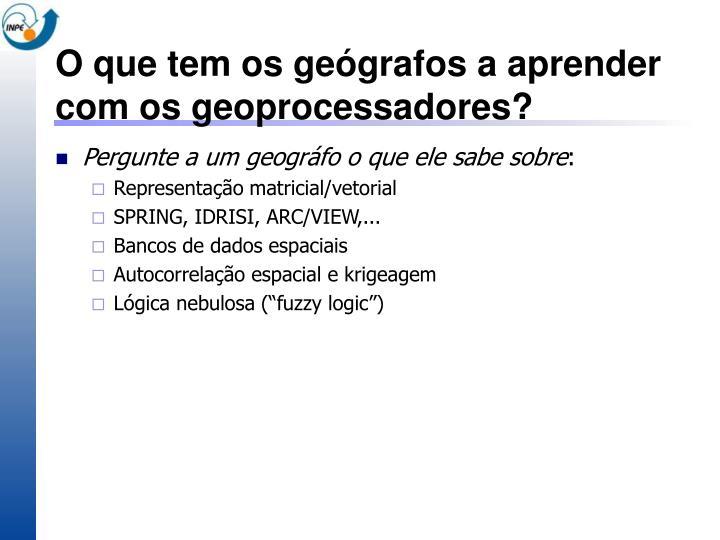 O que tem os geógrafos a aprender com os geoprocessadores?
