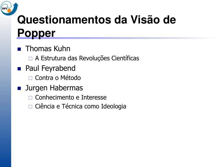 Questionamentos da Visão de Popper