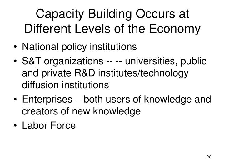 Capacity Building Occurs at Different Levels of the Economy