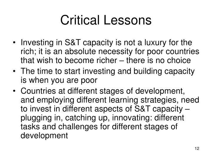 Critical Lessons