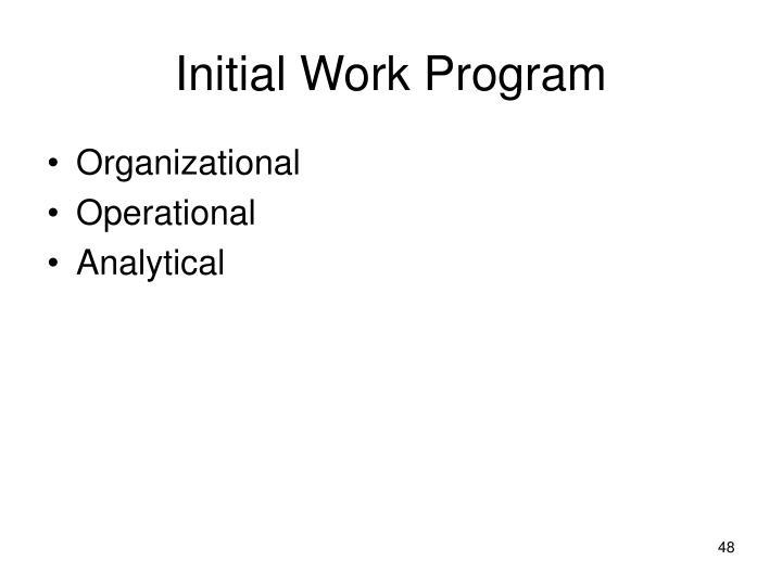 Initial Work Program