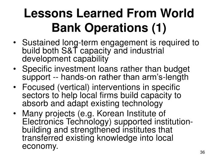 Lessons Learned From World Bank Operations (1)