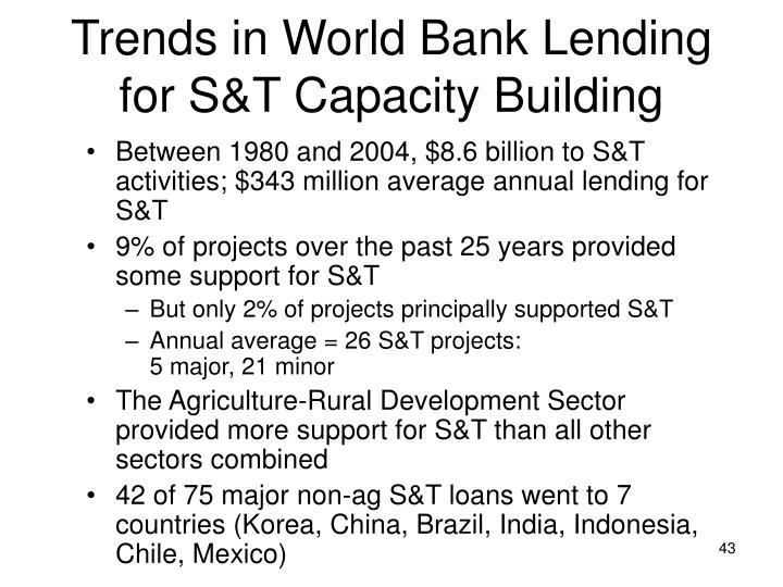 Trends in World Bank Lending for S&T Capacity Building