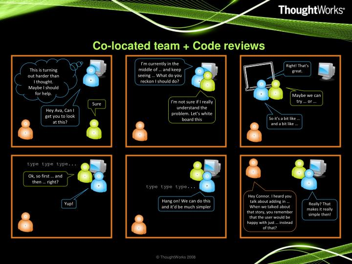 Co-located team + Code reviews