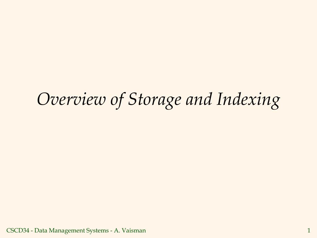 Overview of Storage and Indexing