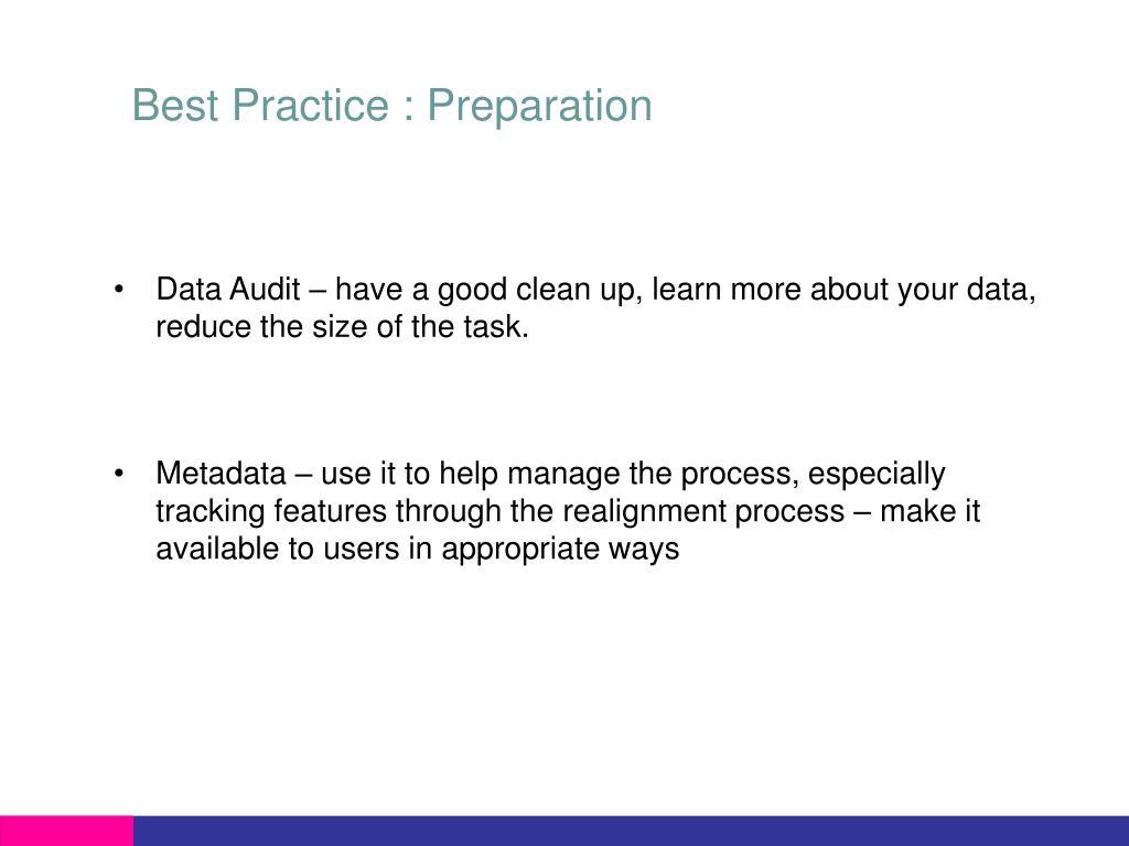 Best Practice : Preparation