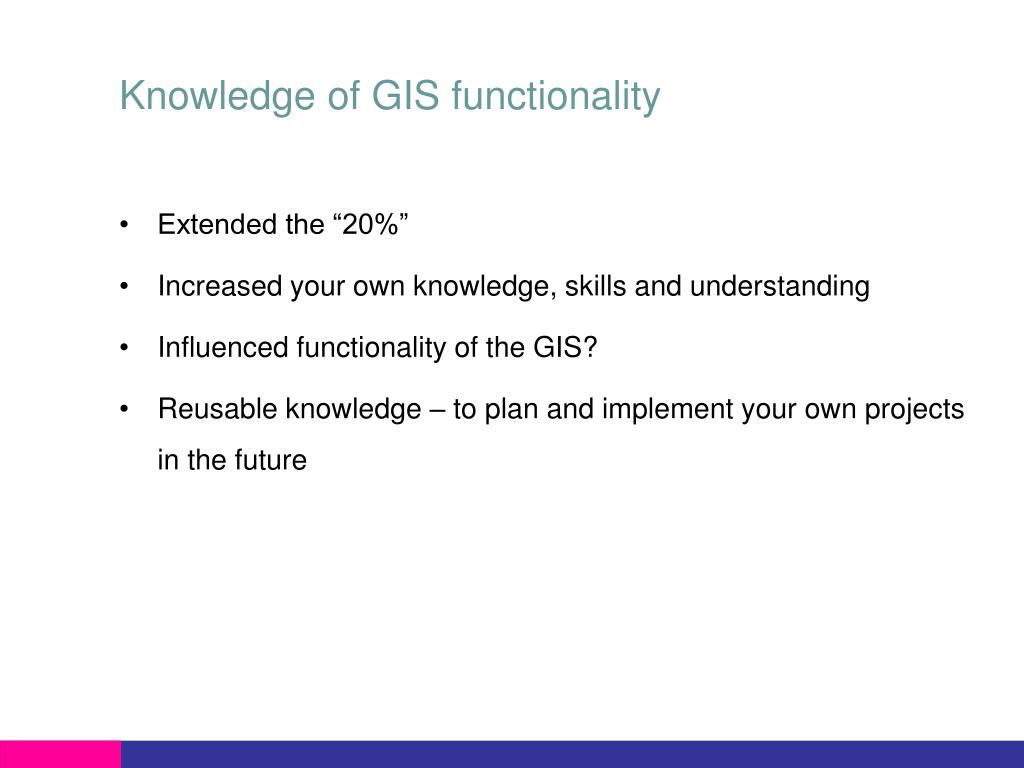 Knowledge of GIS functionality