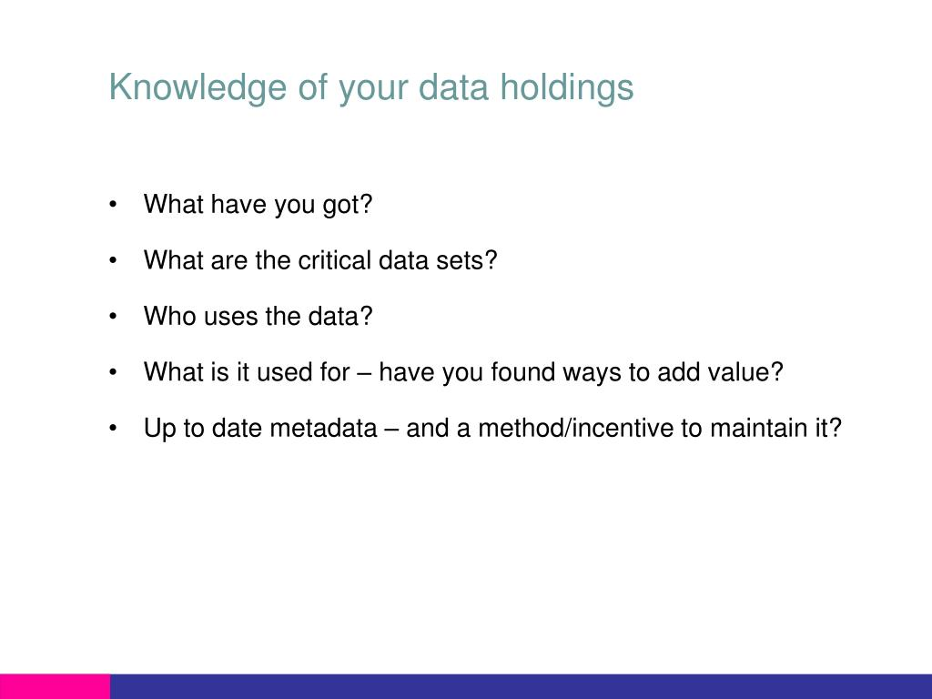 Knowledge of your data holdings