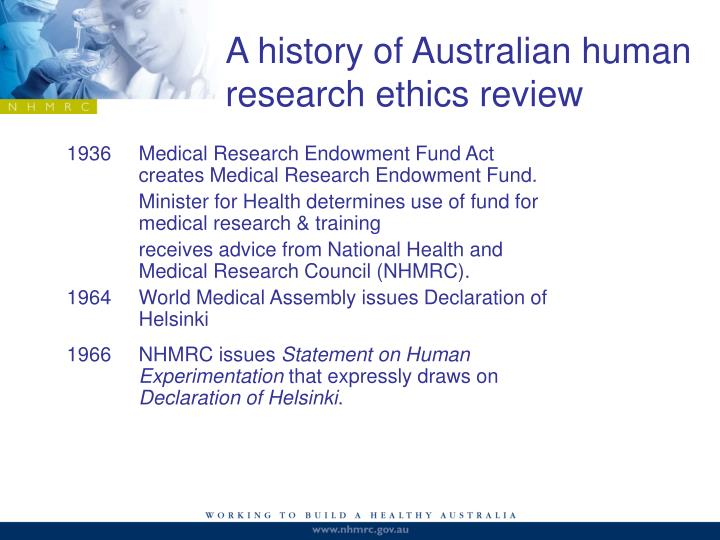 A history of Australian human research ethics review
