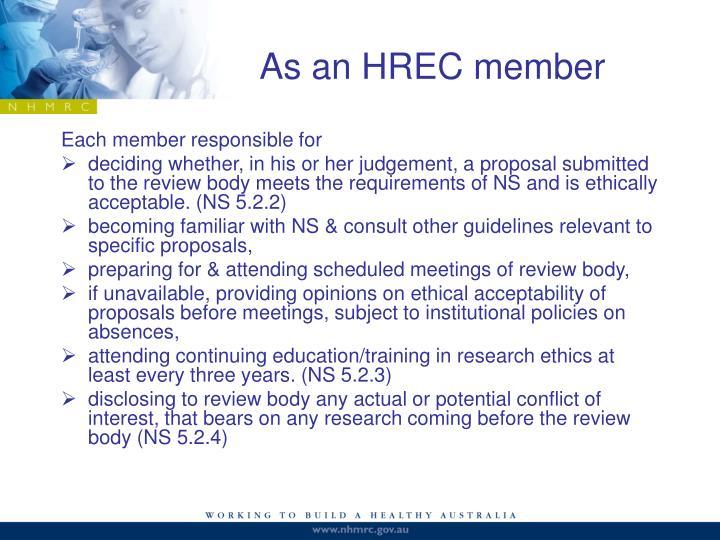 As an HREC member