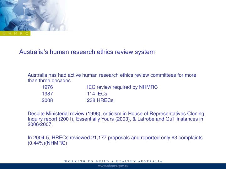 Australia's human research ethics review system