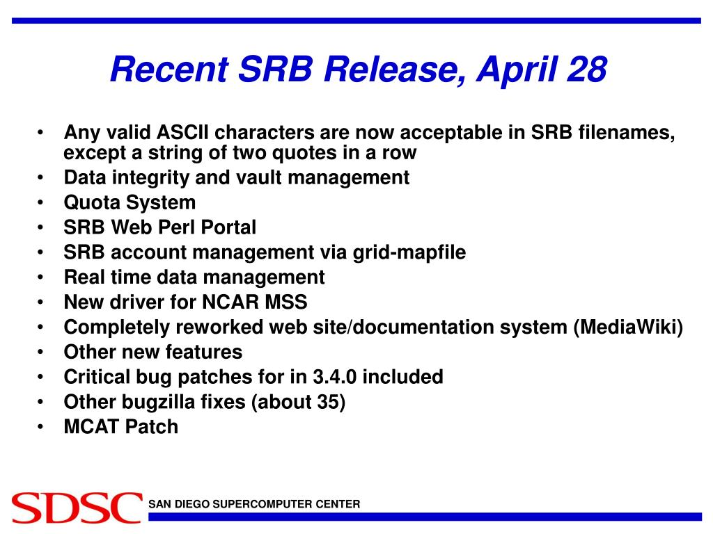 Recent SRB Release, April 28