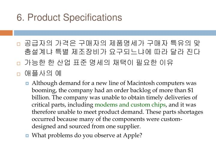 6. Product Specifications