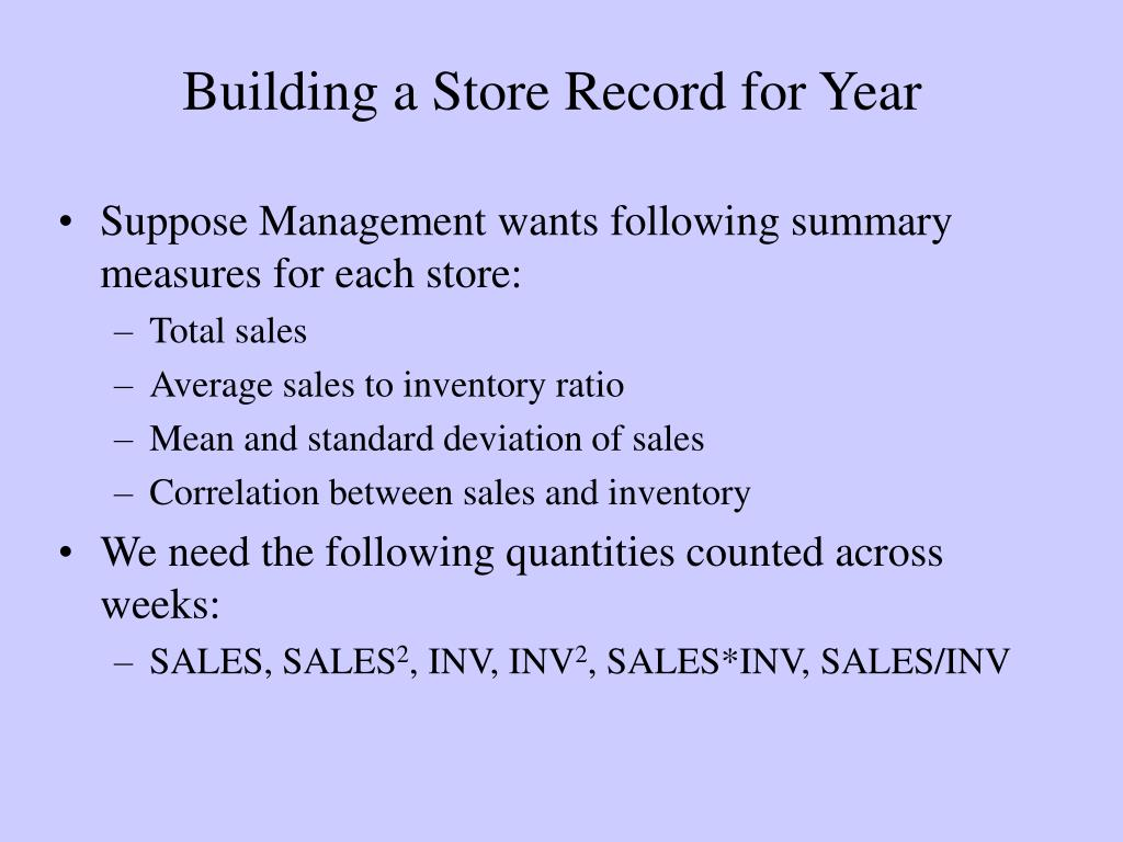 Building a Store Record for Year