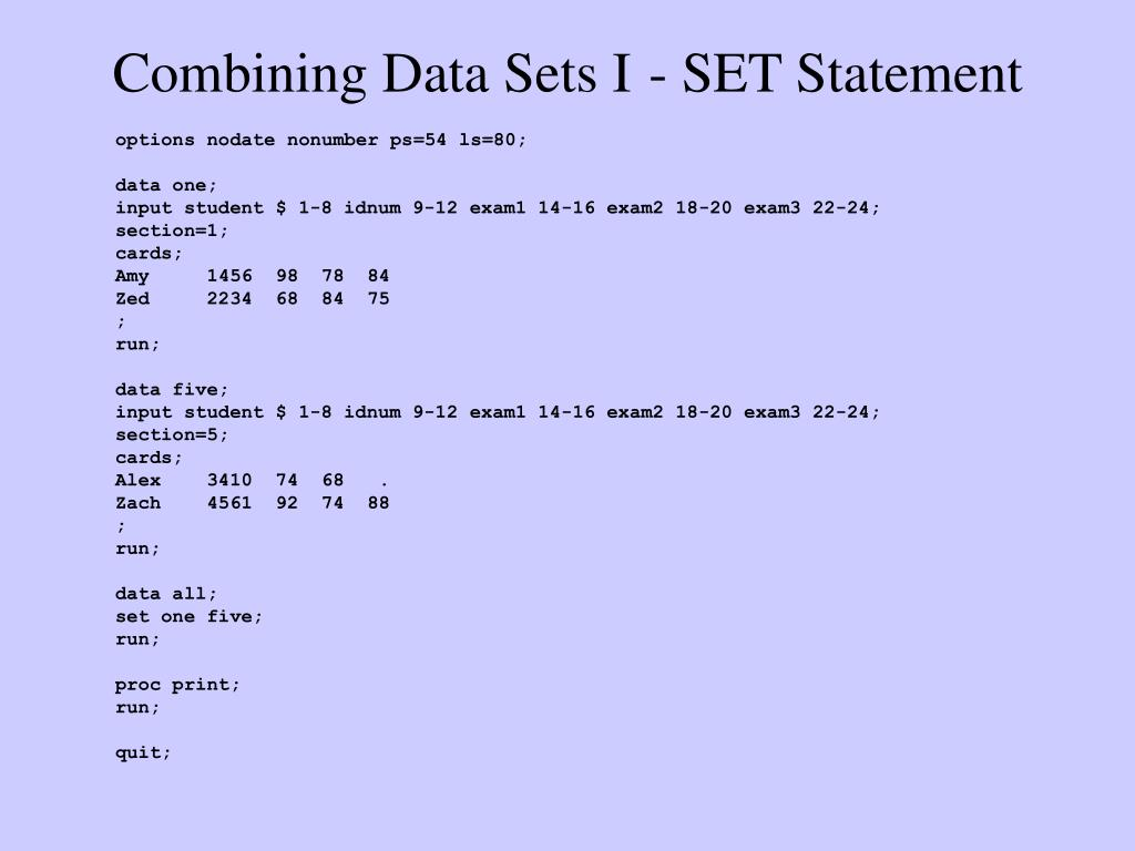 Combining Data Sets I