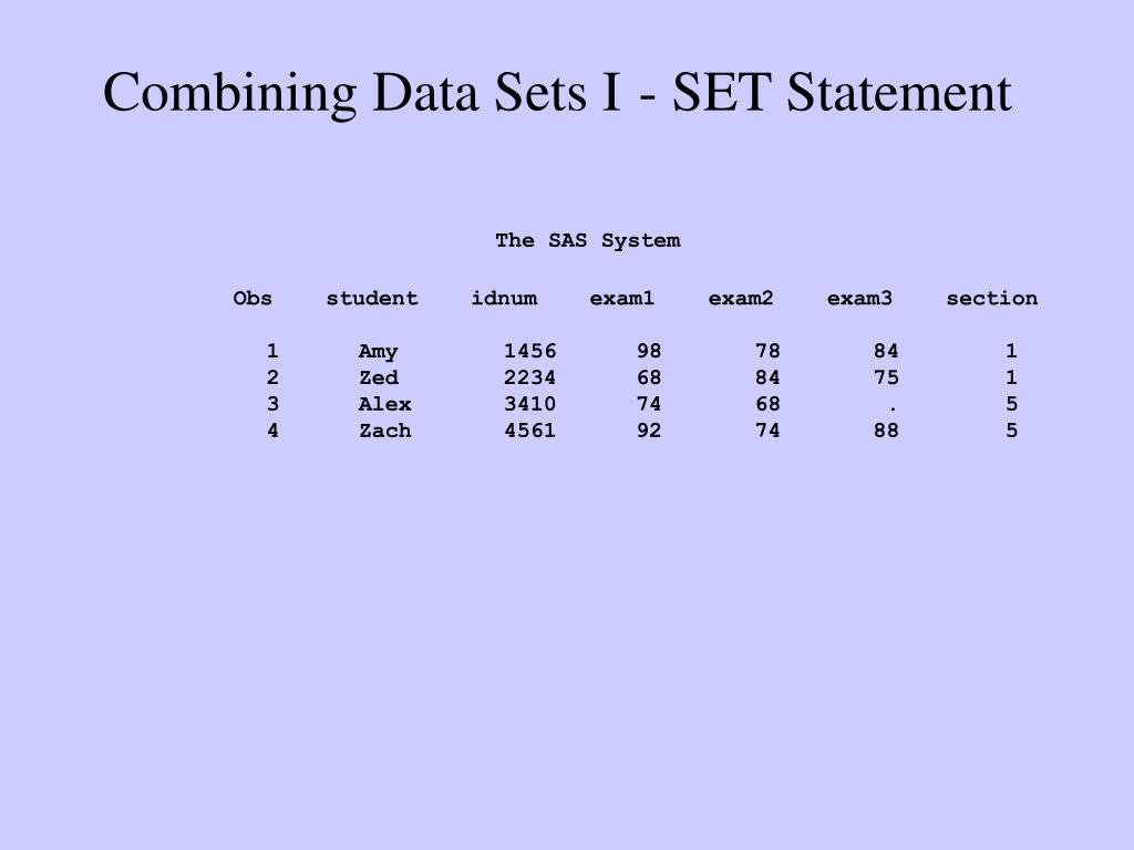 Combining Data Sets I