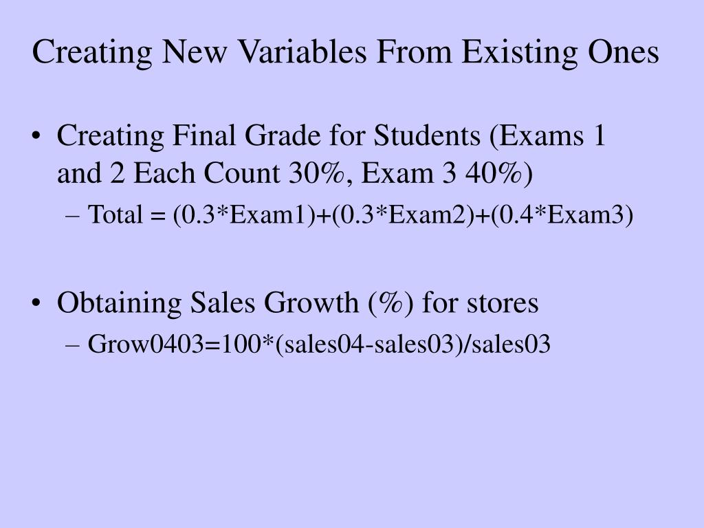 Creating New Variables From Existing Ones