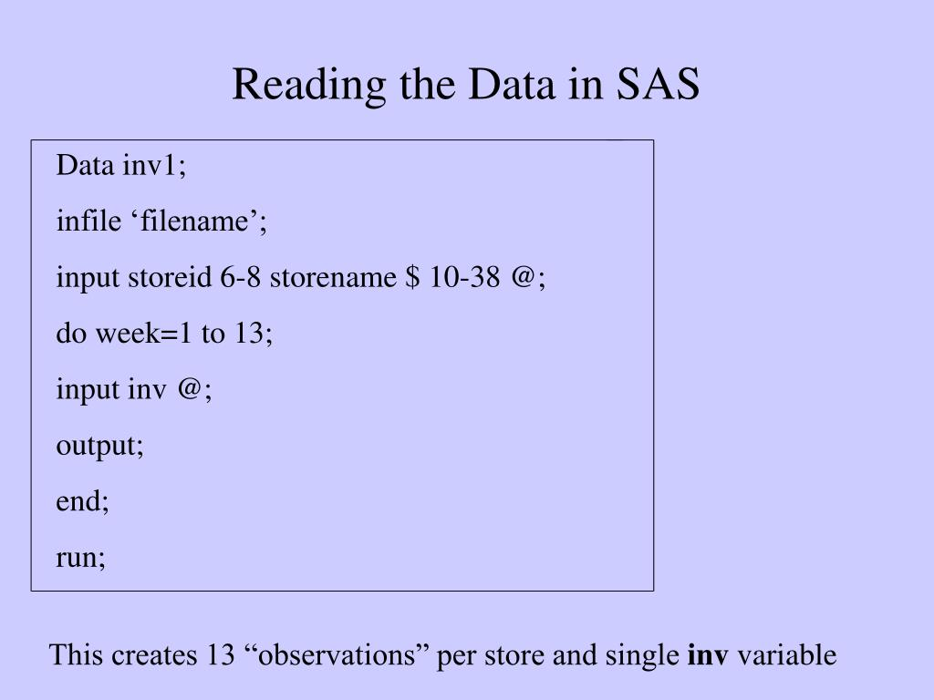 Reading the Data in SAS