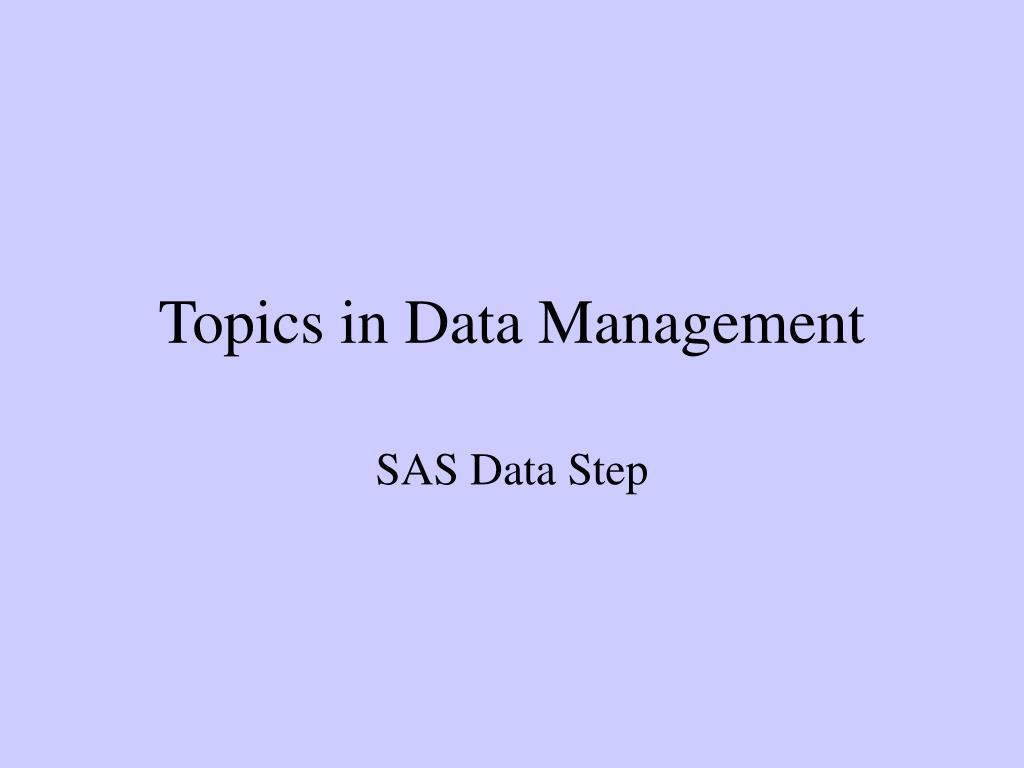 Topics in Data Management