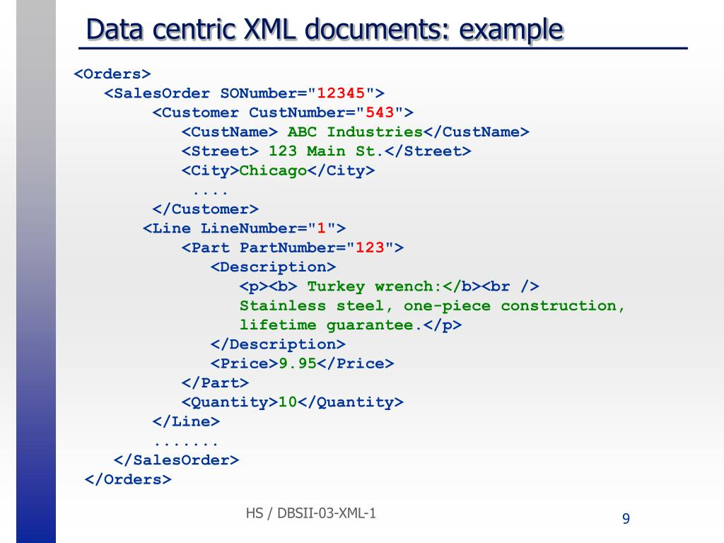 Data centric XML documents: example