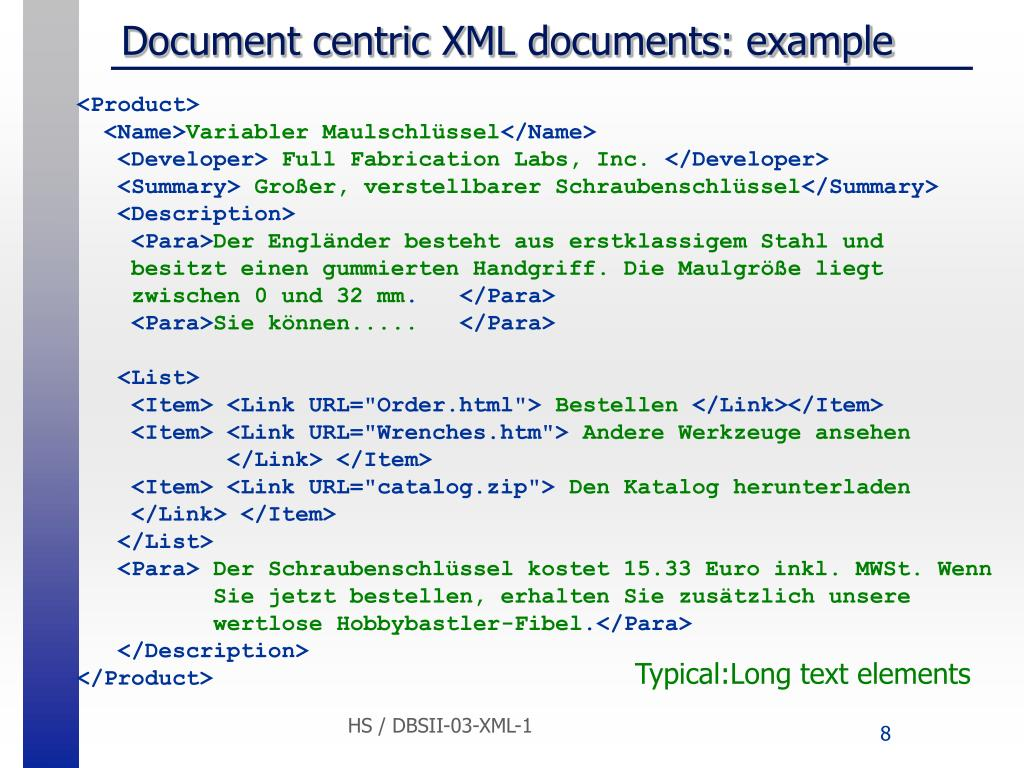 Document centric XML documents: example