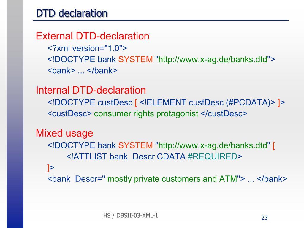 DTD declaration