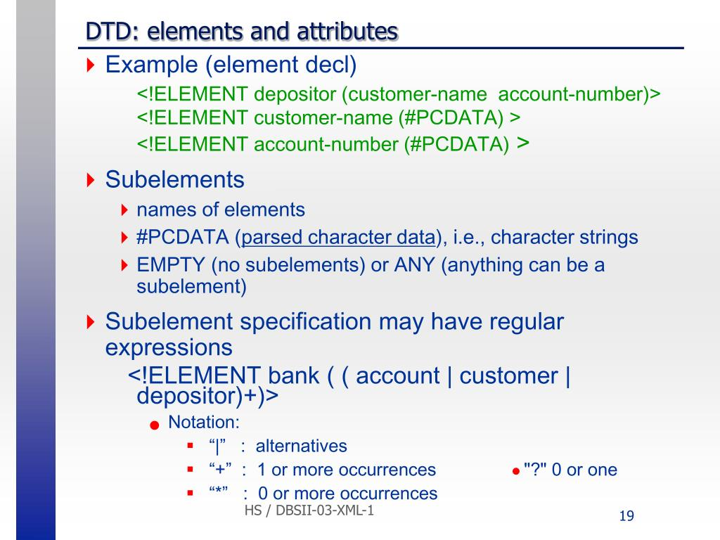 DTD: elements and attributes