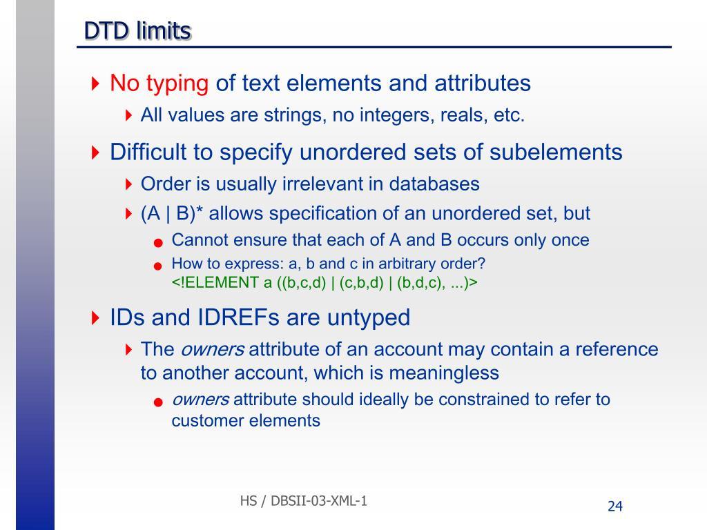DTD limits