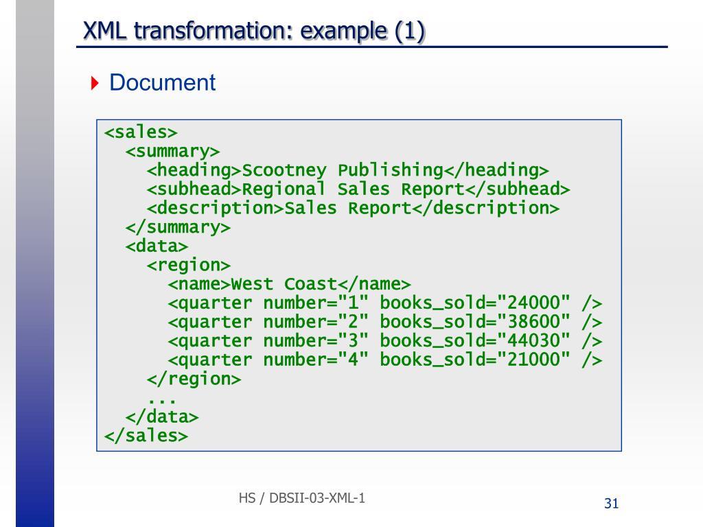 XML transformation: example (1)