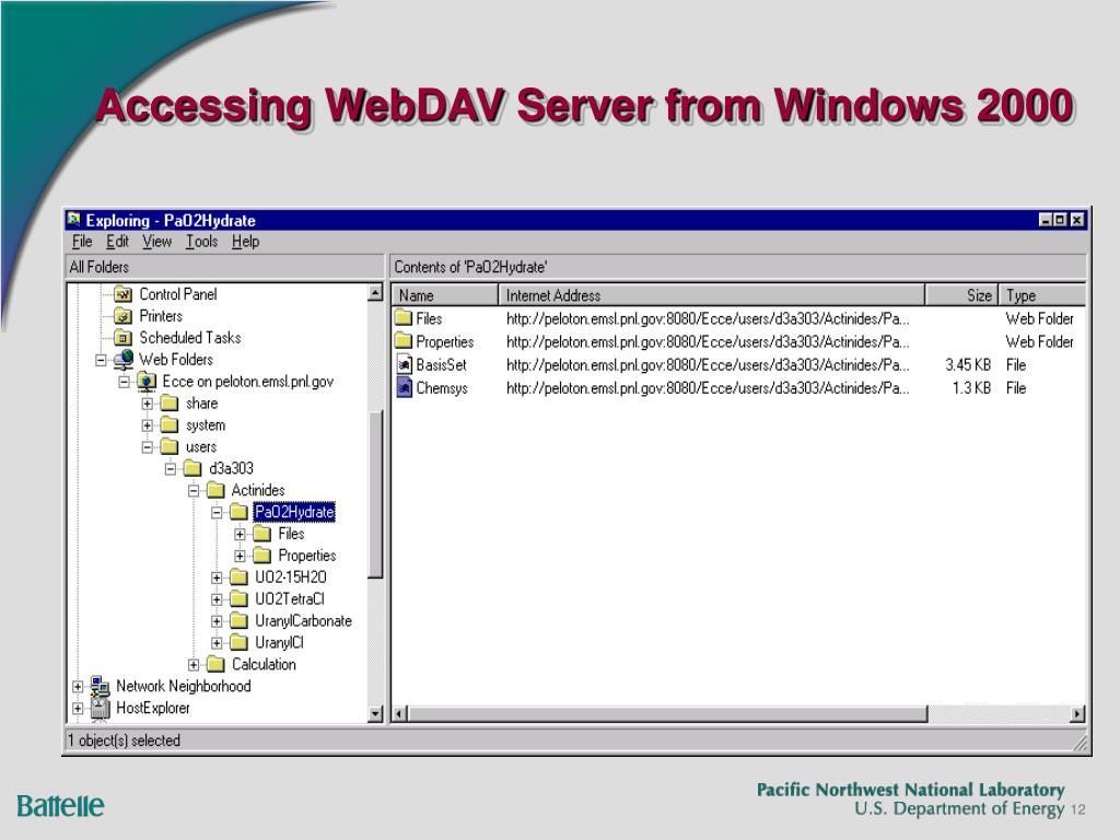 Accessing WebDAV Server from Windows 2000