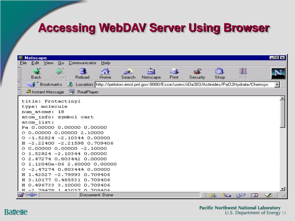 Accessing WebDAV Server Using Browser