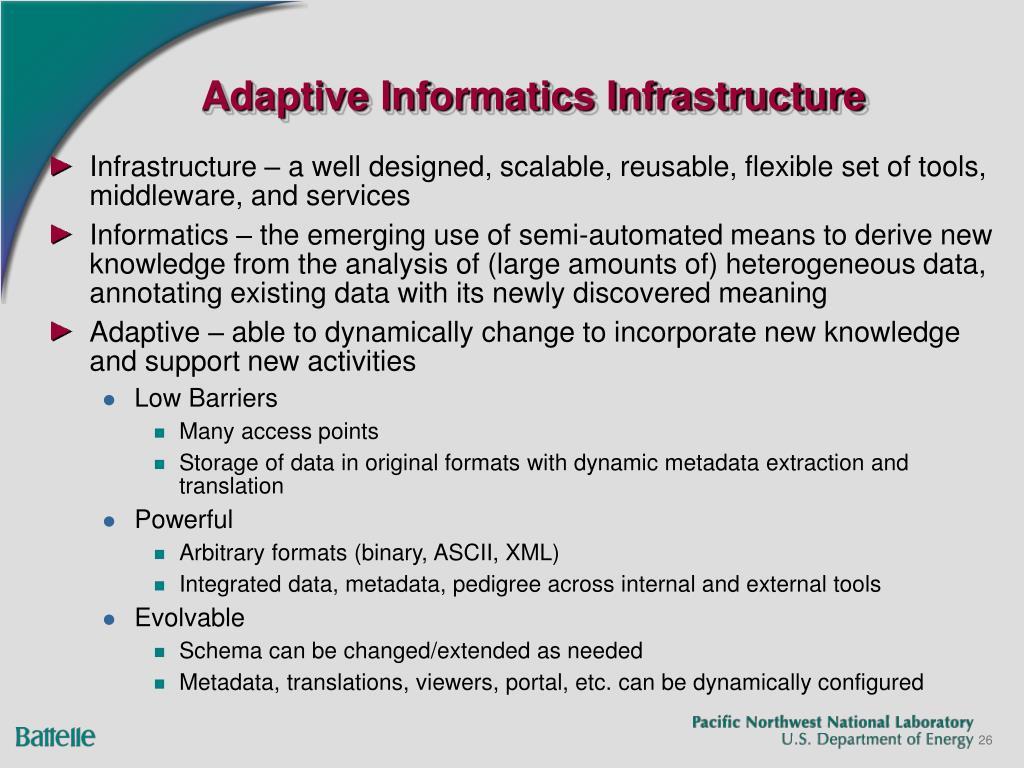 Adaptive Informatics Infrastructure