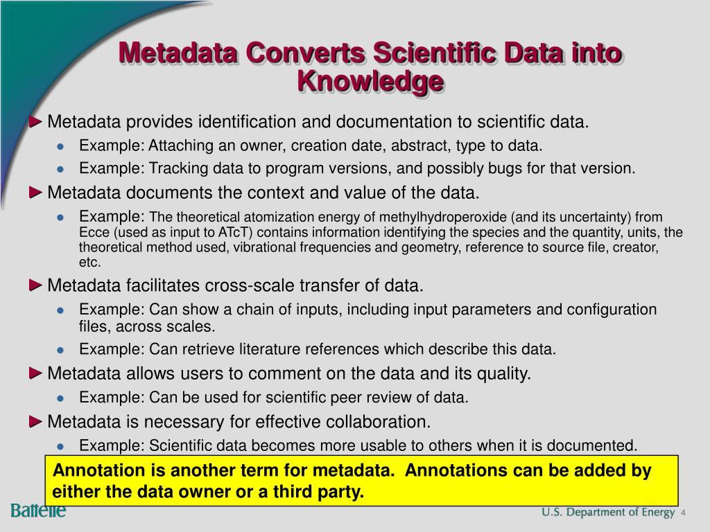 Metadata Converts Scientific Data into Knowledge