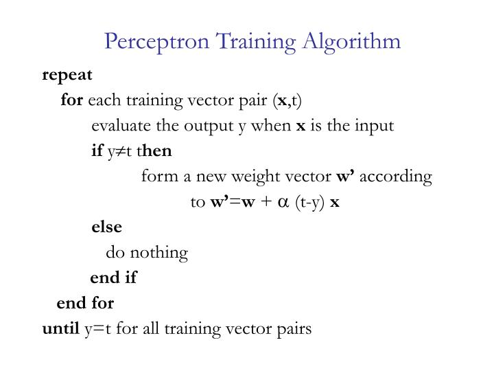 Perceptron Training Algorithm