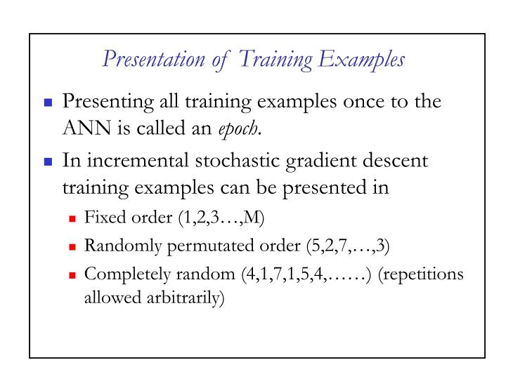 Presentation of Training Examples