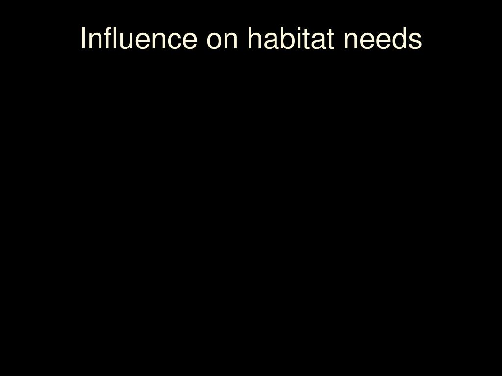 Influence on habitat needs