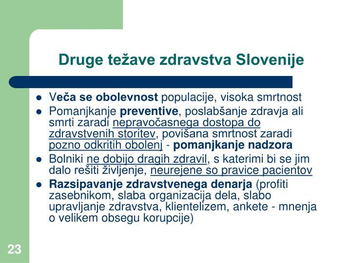 Druge težave zdravstva Slovenije