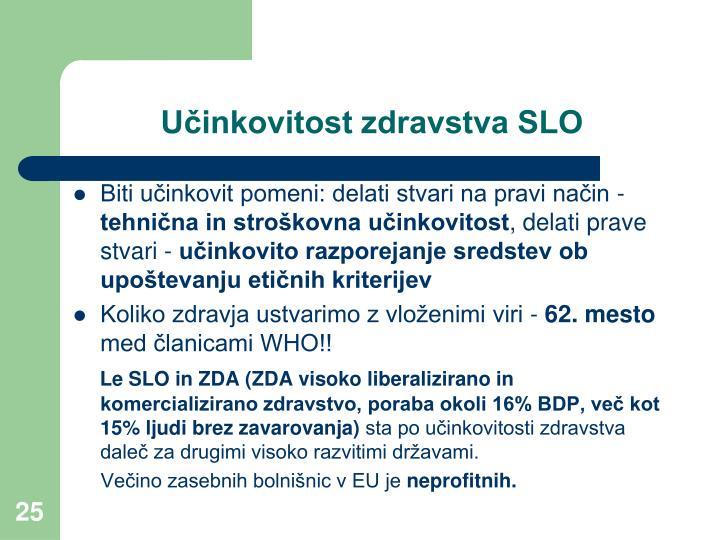 Učinkovitost zdravstva SLO