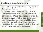 creating a crosstab query13