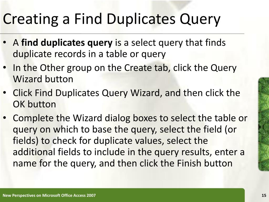 Creating a Find Duplicates Query