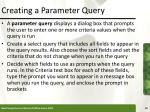 creating a parameter query