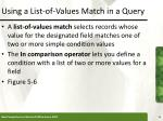 using a list of values match in a query